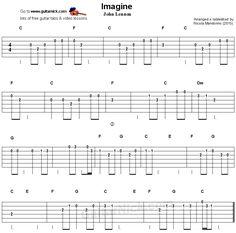 Imagine - easy guitar tablature