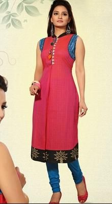 Elegant Block Print Cotton Kurti  Sport sartorial elegance in this fuchsia cotton kurti. The brilliant attire creates a dramatic canvas with amazing bead, block print & fancy embellishments work. #AmazingLadiesKurtis #PrintedCottonKurti