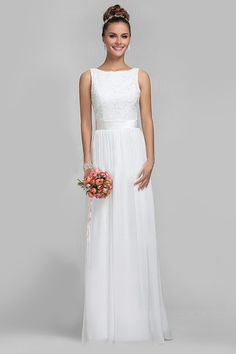 2015 Simple Dainty A-line Scoop Sleeveless Embroidery Floor-length Chiffon Wedding Dresses [w65029] - $ 209.99 :