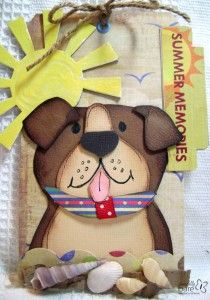 Cute Doggie Paper Piece using, Fancy Pants, Basically Bare