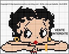 Betty Boop, Beading Patterns, Crochet Patterns, C2c, Le Point, Counted Cross Stitch Patterns, Plastic Canvas, Double Crochet, Crochet Stitches