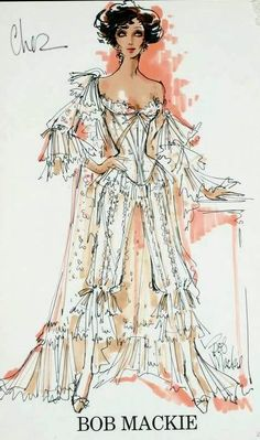 Cher costume sketch by Bob Mackie