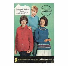 Genuine Vintage 1960s 'Jumpers and Jackets' for the Whole Family' Set of 8 Designs Knitting Pattern Booklet