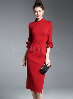Shop Vintage Stand Collar Half Sleeve Slit Bodycon Dress at EZPOPSY. Plain Dress, Midi Dress With Sleeves, Beautiful Red Dresses, Nice Dresses, Maxi Dresses, Formal Dresses, Red Frock, Stylish Outfits, Fashion Outfits