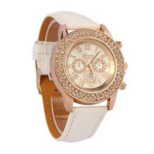 Relogio Feminino Clock Vogue Women Ladies Crystal Dial Quartz Analog kožený náramek náramkové hodinky s dárky 20.října (Čína (pevninská část))