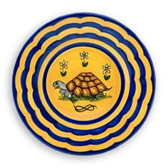 "Contrade Dinnerware in Turtle Pattern, Dinner Plate	11"" for $90 via Biordi   The Turtle (Tortuca), for centuries has represented the ""Rione della Tortuca"" during the Palio horse race. ""Rione"" stands for Neighborhood.  Charger Plate 13"" $130.00 Dinner Plate	11"" $90.00 Pasta/Soup Bowl	9"" $70.00 Salad Plate	9"" $65.00 Dessert Plate	7"" $50.00"