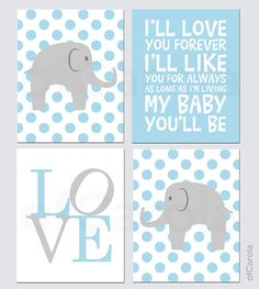 Baby Boy Nursery Elephant PERSONALIZED Wall Art Print - Child Animal Wall Print, Choose Colors - Pastel Blue Grey White Colors - 8x10 inch on Etsy, $56.46 AUD