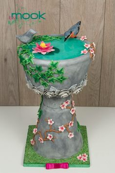 Bird Bath Cake - Cake by Annah Spring Cake, Summer Cakes, Unique Cakes, Creative Cakes, Cupcakes, Cupcake Cakes, Cake Icing, Eat Cake, Beautiful Cakes