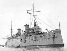 "USS Minneapolis (C-13) in 1898 showing her 8""/40 (20.3 cm) bow deck gun"