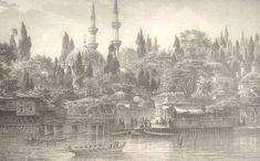 Eugene Napoleon Flandin, Eyüp iskelesi Boat Drawing, Grisaille, Ottoman Empire, Istanbul Turkey, Napoleon, Architecture, Paris Skyline, Taj Mahal, Sketches