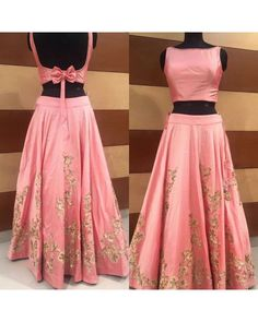 croptop lehenga designs Backless Blouse Designs - Satin Backless Blouse With A Bow For Lehenga Indian Gowns Dresses, Indian Fashion Dresses, Indian Designer Outfits, Designer Dresses, Designer Wear, Designer Blouses For Lehenga, Lehenga Choli Designs, Saree Blouse Designs, Blouse Back Neck Designs