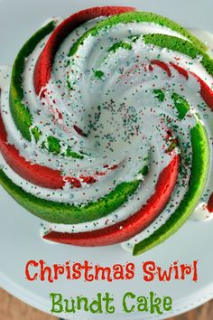 Christmas Swirl Bundt Cake Recipe- You won't believe how easy it is to create this beautiful and festive vanilla flavored Christmas Swirl Bundt Cake!