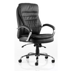 Rocky Black Leather Swivel Chair