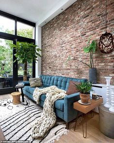 Loft is All You Need - Loft Inspiration via Marieke Interior Design Home Living Room, Apartment Living, Living Room Designs, Apartment Layout, Apartment Ideas, Loft Design, House Design, Brick Room, Brick Interior