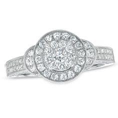 3/4 CT. T.W. Composite Diamond Framed Engagement Ring in 10K White Gold