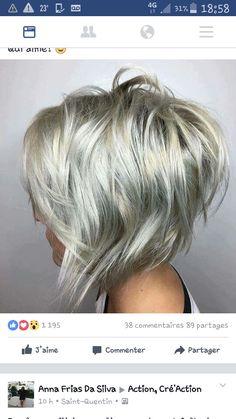 70 Overwhelming Ideas for Short Choppy Haircuts Choppy Silver Blonde Bob Edgy Bob Hairstyles, Short Choppy Haircuts, Bob Haircuts, Layered Haircuts, Haircut Medium, Haircut Short, Reverse Bob Haircut, A Line Haircut, Latest Hairstyles
