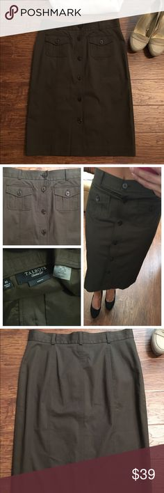 Talbots military green button front pencil skirt NWOT. Olive green pencil skirt from Talbots. Midi length. Flattering fit. Belt loops and front pockets. Laying flat the width measurement is 16 inches delay on the way to the bottom is 25 inches. Talbots Skirts Midi