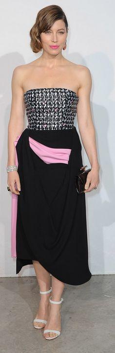 Jessica Biel: Earrings – David Webb  Dress and purse – Christian Dior  Shoes – Manolo Blahnik
