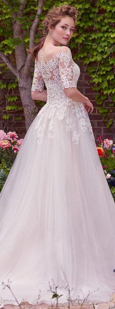 Amazing Tulle & Satin Bateau Neckline A-Line Wedding Dresses With Lace Appliques