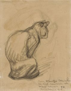 French 20th century graphite drawing of a cat by Theophile Alexandre Steinlen. Sold for $948