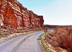 Dead Man's Curve between Mesita and Laguna on Route 66 in New Mexico
