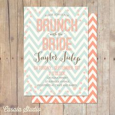 ETSY  Rustic Chic Mint and Peach Chevron Bridal Brunch Shower Invitation Baby Shower Invite Printable or Professionally Printed Cards