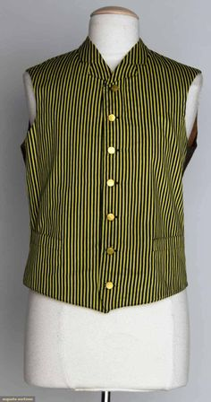 "LIVERY COAT & VEST, AMERICA, 1880s -- For coachman or footman: 1 black wool fitted jacket, silver buttons; 1 black & yellow striped vest w/ brown cotton backing; Sh-Sh 15"", Ch 38"", Jacket L 32"", Vest L 22"", excellent -- to be worn under wool coat"