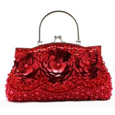 Red Sequin Beaded Soft Bridesmaid Prom Party Evening Ball Purse Bag Buy  SKU-1110569