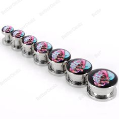 4-14mm Punk Suger Skull Stainless Steel Flesh Screw Ear Tunnel Plugs Expander