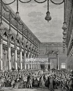 Stock Illustration : Engraving of Royal banquet at Hotel de Ville, January 21, 1782, engraving from Dictionary of Furnishing and Decoration from 18th century to present day, Volume II, 1878, by Henry Havard (1838-1921)