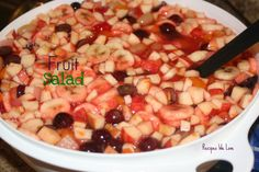 Fruit Salad- my dad makes this for Thanksgiving and Christmas every year. It is a BIG HIT!!