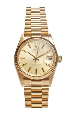 18K Yellow Gold Ladies' Rolex Datejust With Gold Dial And President Bracelet by Fourtané Rolex for Preorder on Moda Operandi