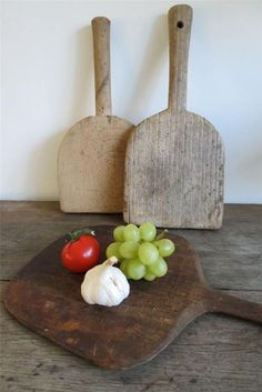 Vintage rustic French 3 old round wooden chopping boards serving cheese bread