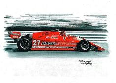 1981 Ferrari 126 CX, Gilles Villeneuve, Didier Pironi. Ferrari F1 collection ART by Artem Oleynik. This collection demonstrating Ferrari F1 racing cars since 1950 to 2016 and includes 96 pictures in oil on canvas. The size of each original picture is 25 x 35 cm.