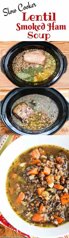 Slow Cooker Lentil Smoked Ham Soup - made with mineral rich chicken bone broth and a smoky ham bone, this simple lentil soup is rich and flavorful ~ http://jeanetteshealthyliving.com