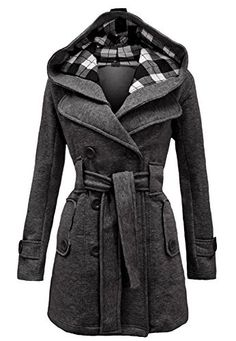 Noroze Womens Check Hood Duffle Coat (8 (UK 12), Charcoal)