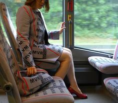 Artist Wears Outfits Made From Bus Seat Fabrics as Quirky Camouflage on Public Transit Commutes — My Modern Met Textiles, Digital Museum, Running Fashion, Take A Nap, Cool Fabric, Public Transport, Listening To Music, Matching Outfits, Camouflage
