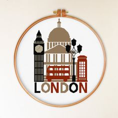 INSTANT DOWNLOAD Retro London Cross Stitch Pattern ----------------------------------------------------- PATTERN INFORMATION Suggested fabric: 14