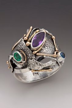 Silver and Gold Ring with Sapphire, Emerald and Amethyst