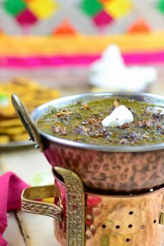 Punjabi Sarson ka Saag is a traditional Punjabi dish made with mustard greens. Other green leaves like spinach, fenugreek and radish greens are also added to give it a unique flavor. It is best enjoyed with Makki Ki Roti or maize flour flat bread.