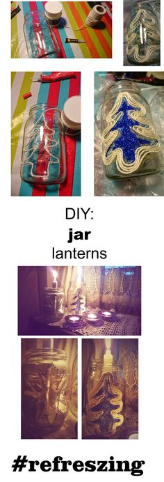 Jar lantern. Cheap, quick, easy way to do xmas decoration.   refreszing