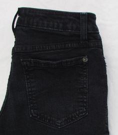 Women Second Yoga Charcoal Black Jeans Straight Leg Low Rise Stretch sz 27 X 33…