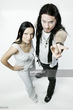 Photo of NIGHTWISH and Tarja TURUNEN and Tuomas HOLOPAINEN; L-R: Tarja Turunen, Tuomas Holopainen - posed, studio