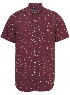Burgundy Swallow Print Short Sleeve Shirt Item code: 83D57EBRG