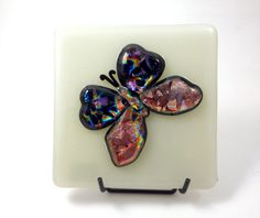 Fused Dichroic Glass Butterfly Art Panel 052 by Mtbaldyglassworks, $39.00