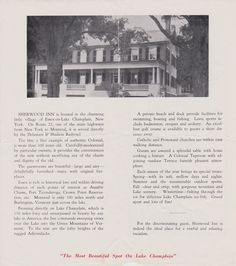 Vintage brochure for the Sherwood Inn in Essex, NY. (Inside) Learn more and read a transcript here: http://www.essexonlakechamplain.com/heritage/vintage-brochure-sherwood-inn/