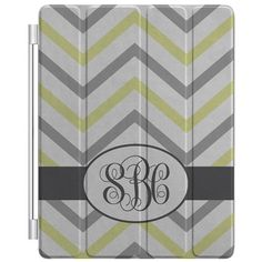 Personalized CUSTOM Monogrammed Smart Cover for Apple New iPad 2 3 4 Case - Grey Yellow White Chevron Zig Zag, Inititals Oval on Etsy, $39.99