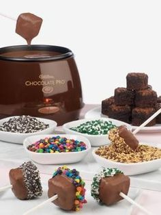 Fondue brownies and sprinkles