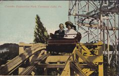 HOLD ON TO YER HAT! This is a splendid Exposition Park photo from 1912 of a happy couple at the beginning of a drop on the Three Way Figure 8 Toboggan Slide. Note that the ride used only single cars rather than the several joined cars we're used to seeing today. The Figure 8 was built in 1902 near Park Ave, Brown Ave. and Comstock. Later, during the mid 1920's it was renamed the Jack Rabbit. The coaster was eventually dismantled in 1936.