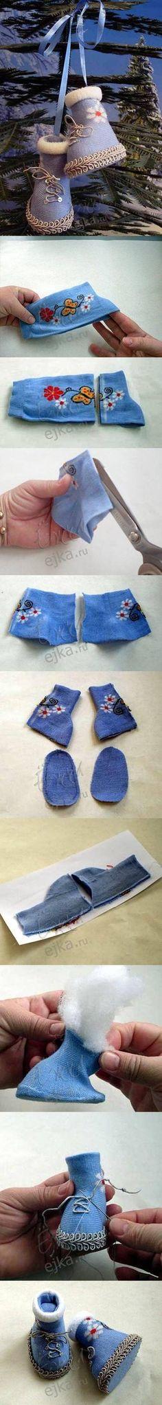 DIY Socks Baby Christmas Shoes